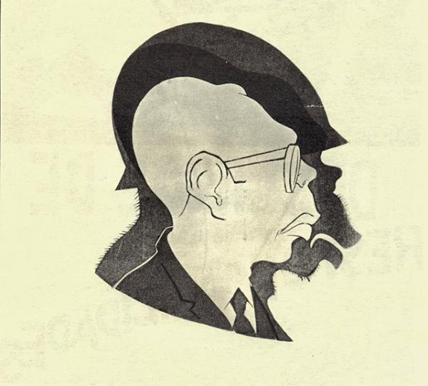Caricatura de Rius usada en las marchas del movimiento estudiantil del 68