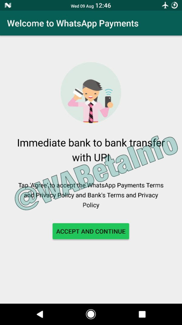 Captura de pantalla de WhatsApp Payments