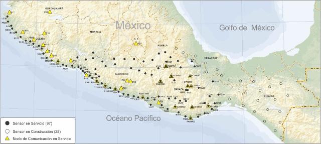 Mapa con los sensores sísmicos, sensores de servicios y nodos de comunicación