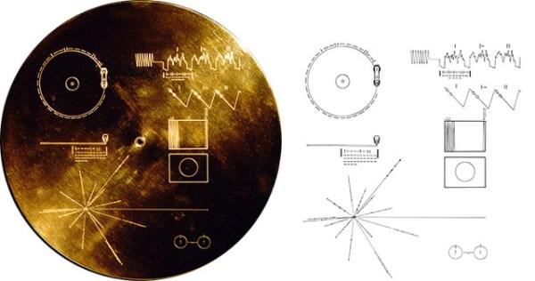 Portada del Disco de Oro que viaja en las sondas Voyager