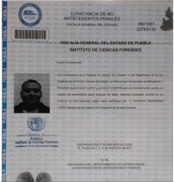 Carta de No Antecedentes Penales de Ricardo Alexis Díaz