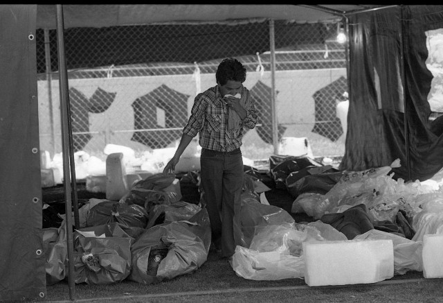 El desaparecido Parque del Seguro Social (Hoy Parque Delta) sirvió de morgue improvisada.