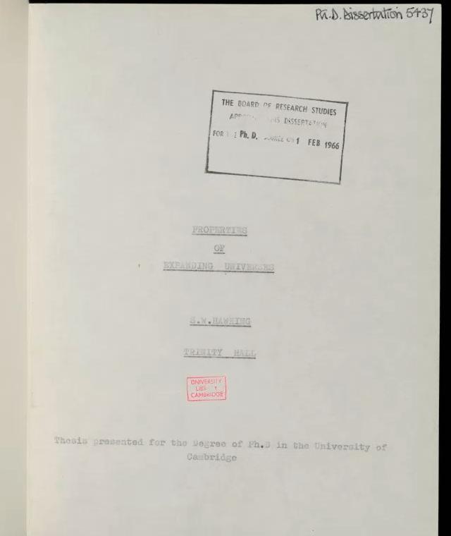 Un fragmento de la tesis de doctorado de Hawking