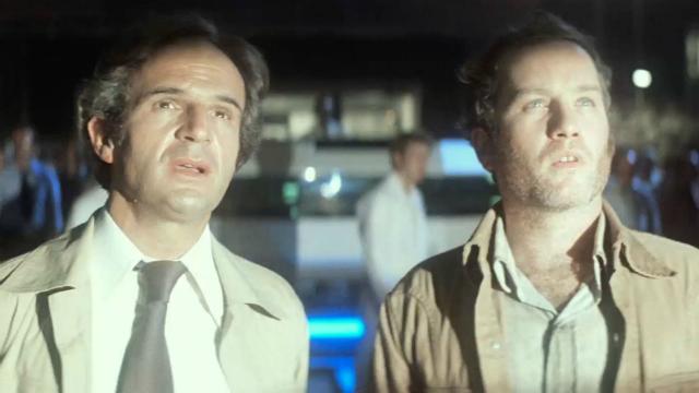 Richard Dreyfuss y Francois Truffaut en la película de Steven Spielberg