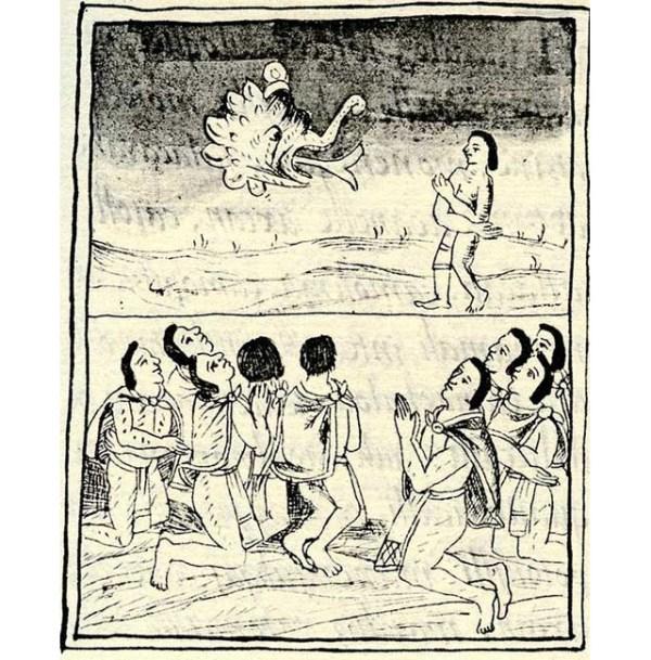Códice Florentino, gente rogando a Tezcatlipoca