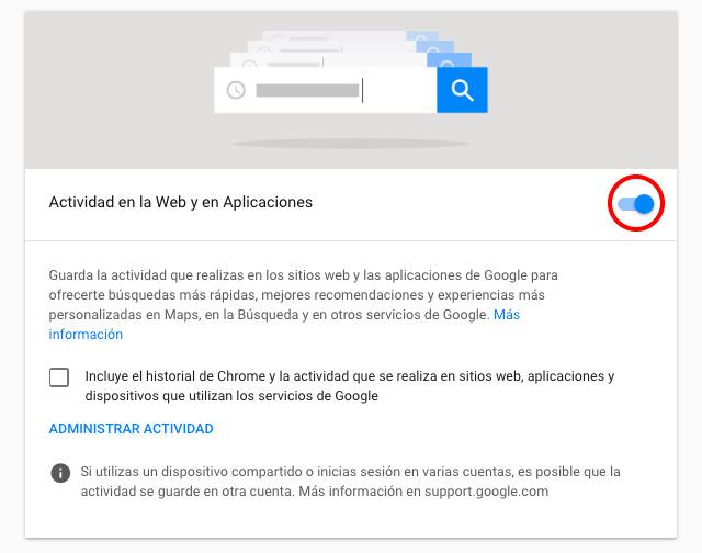 Google actividad web aplicaciones