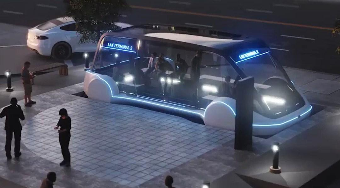 iuna cabina de Loop, el sistema de transporte de Elon Musk