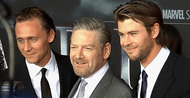 Kenneth Branagh con Tom Hiddleston y Chris Hemsworth