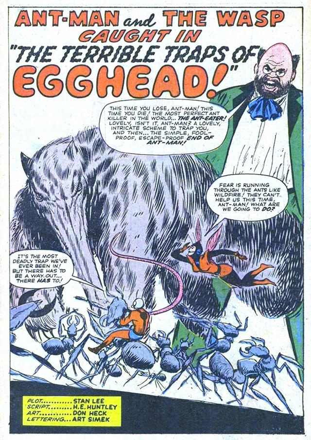 una página del cómic de Ant-Man escrito por Stan Lee