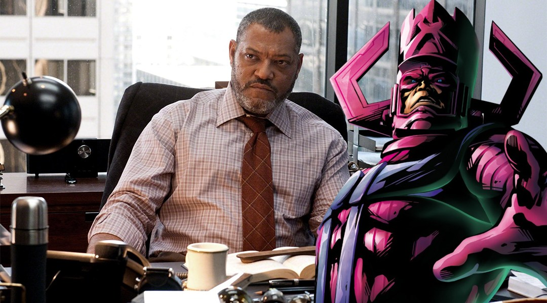 Fishburne con Galactus, el personaje de Marvel