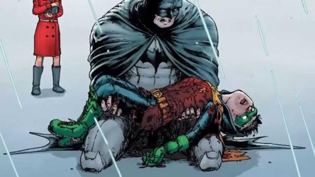 Batman cargando a su hijo muerto