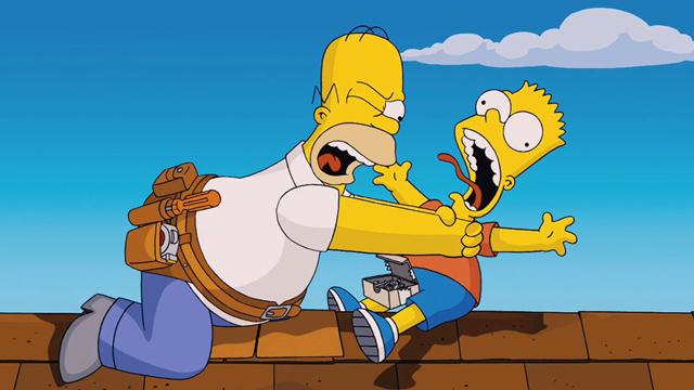 Homero Simpson con Bart Simpson, su hijo
