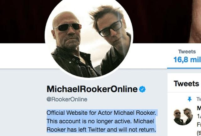 Una captura de pantalla del perfil de Michael Rooker