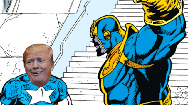 Trump como el capitán America junto a thanos