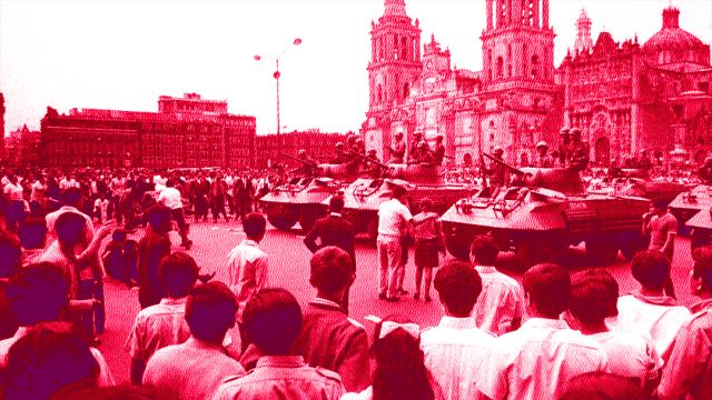 El ejército mexicano en la plancha del Zócalo de la Ciudad de México