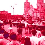 Soldados en la plancha del Zocalo capitalino en 1968