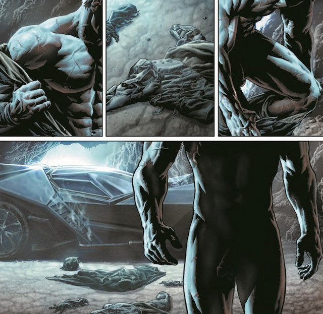 En el tercer y cuarto penel se puede ver claramente el pene. Batman: Dammed 1 (DC Comics)
