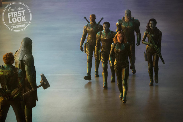 De izquierda a Derecha: El leader de la Starforce (Jude Law), Ronan (Lee Pace), Korath (Djimon Hounsou), Att-Lass (Algenis Perez Soto), Carol Danvers/Captain Marvel (Brie Larson), Bron-Char (Rune Temte) y Minn-Erva (Gemma Chan)