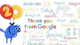 El doodle de 20 aniversario de Google