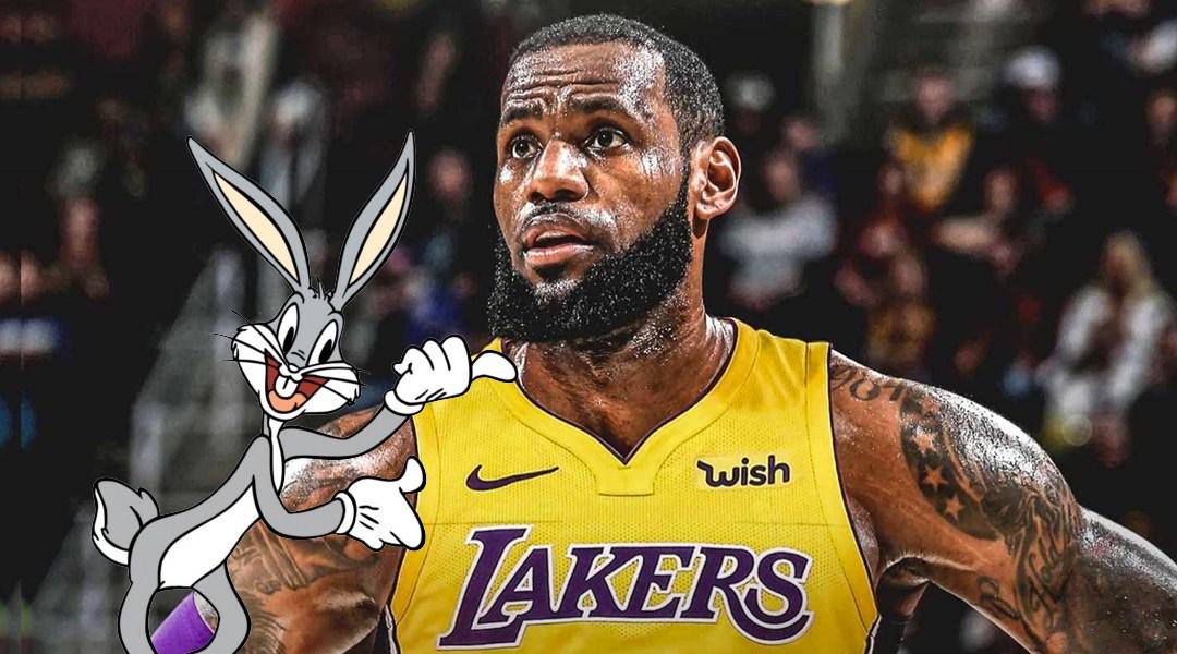 Bugs Bunny con el deportista LeBrom James