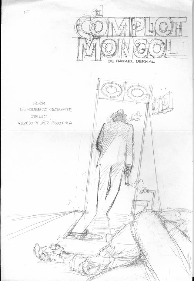 Boceto de la portada de Complot Mongol publicada por FCE.