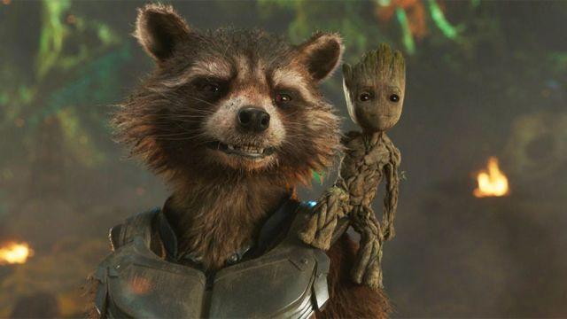 El mapache Cohete y Groot en el cine