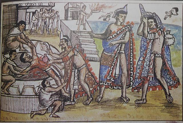 Sacrificio Humano que aparece en el Códice Durán