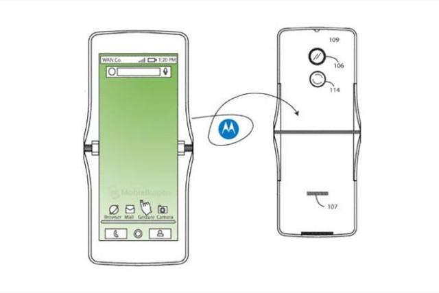 imagen de la patente del Motorola pantalla flexible