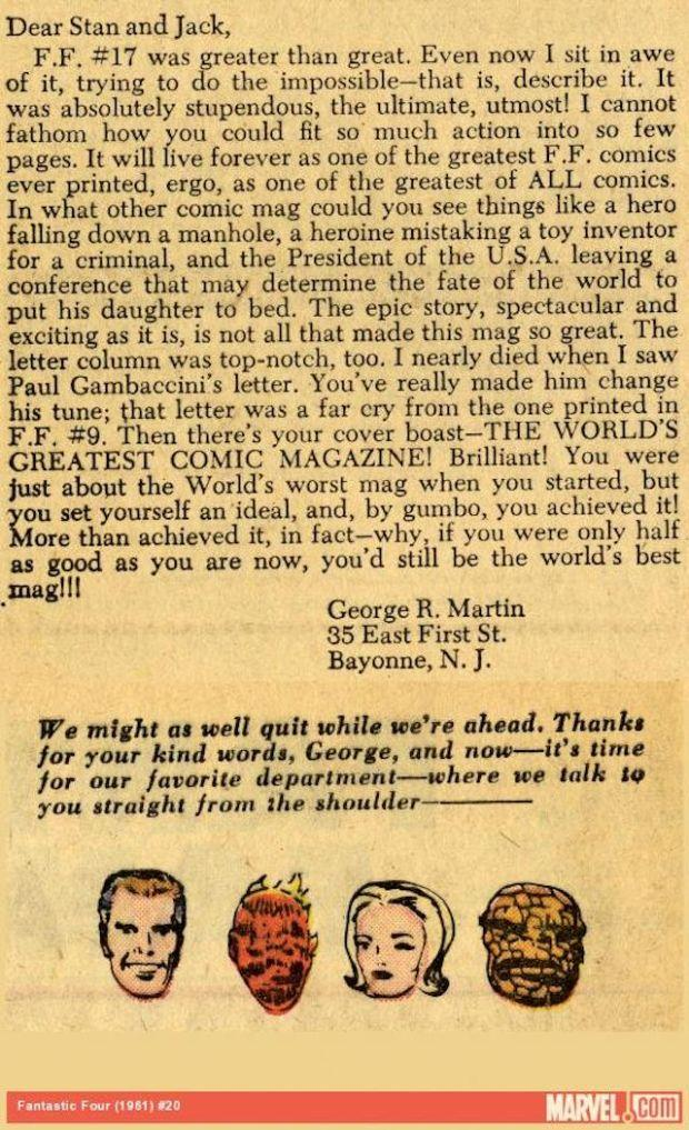 George RR Martin, Stan Lee, Jack Kirby, Marvel
