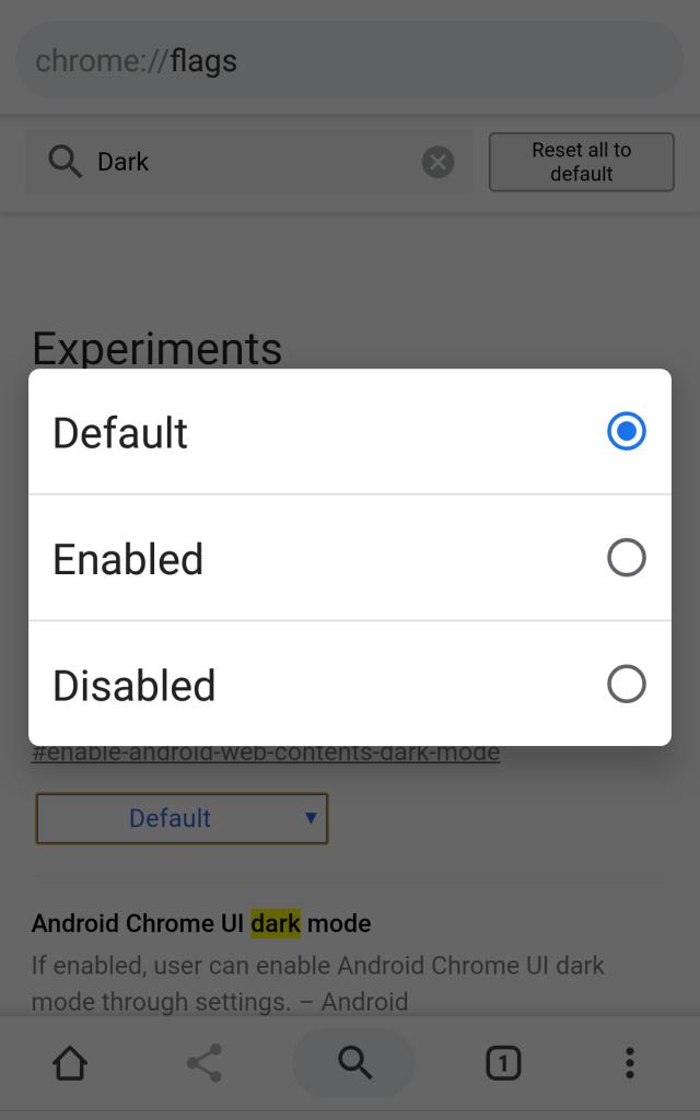 Dark mode, Chrome, Android, phone