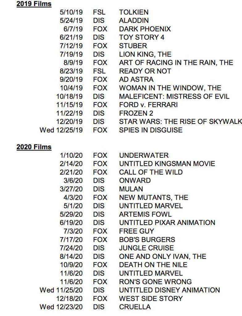 Disney, Marvel, Películas, Calendario