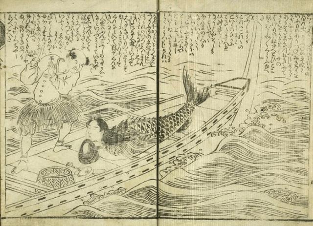 Ningyo capturado por un pescador.