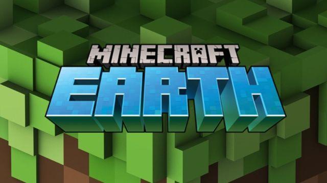 Logo de Minecraft Earth en letras azules y fondo verde