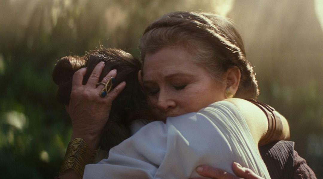Star Wars-Ridley, Fisher-Abrazo