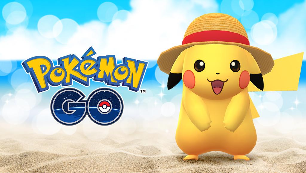 Pikachú con un sombrero de paja