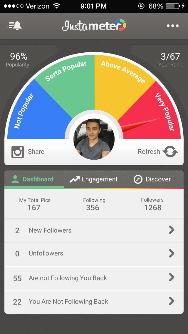 Captura de la aplicación FollowMeter for Instagram que te deja saber quién te dejó de seguir en Instagram