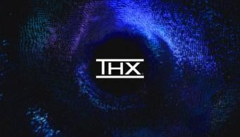 Logo de Deep Note de THX con fondo azul