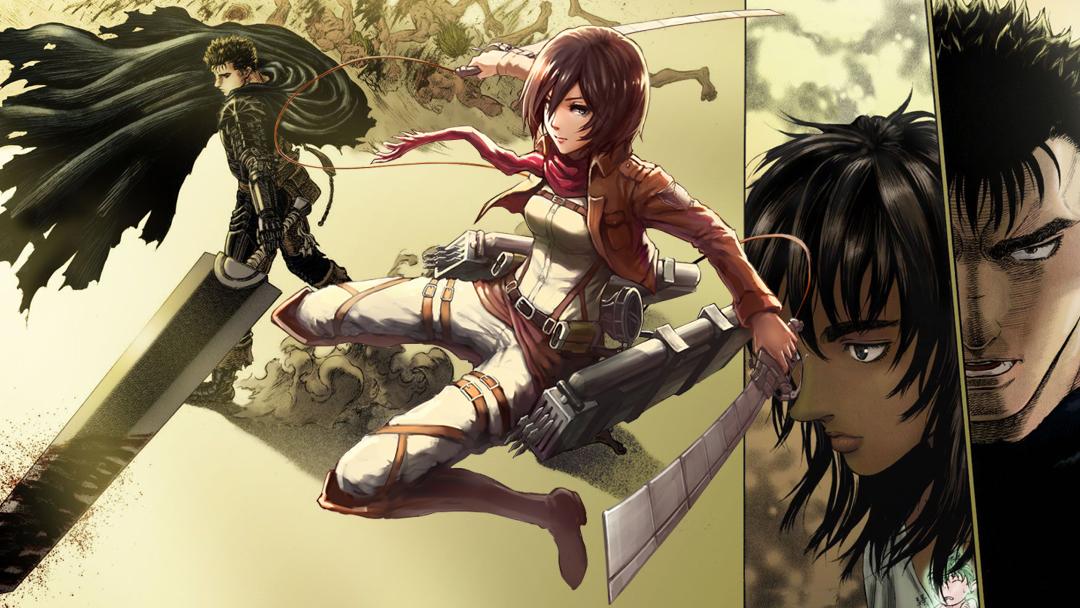 26/09/19, Attack on Titan, Mikasa Ackerman, Berserk, Fanart