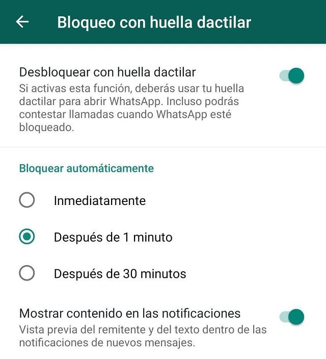 bloque dactilar WhatsApp