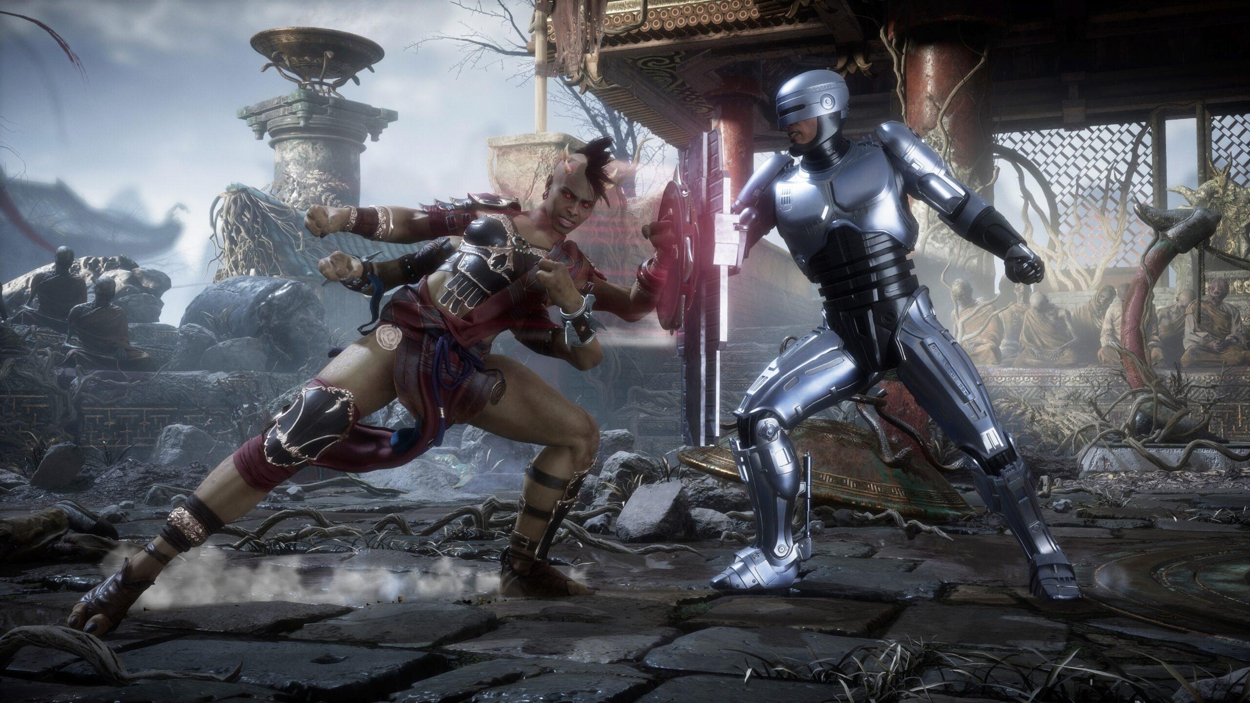 Robocop contra Sheeva en Mortal Kombat 11