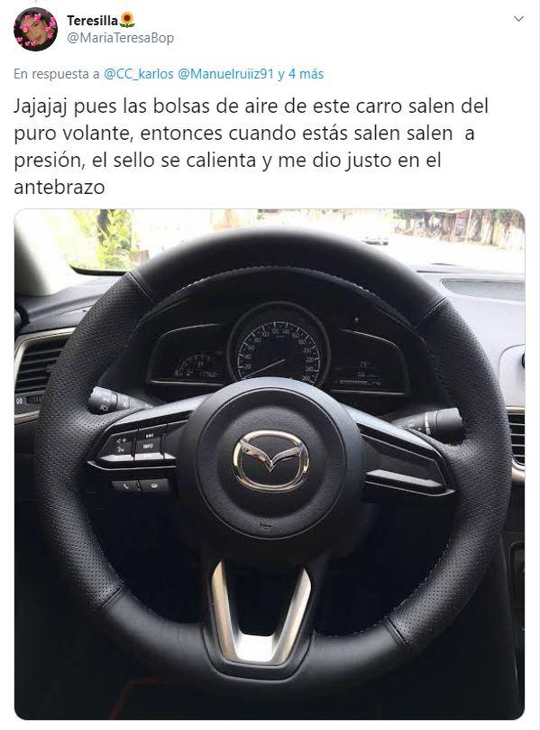 Twitter: Logo de Mazada provoca quemadura en automovilista