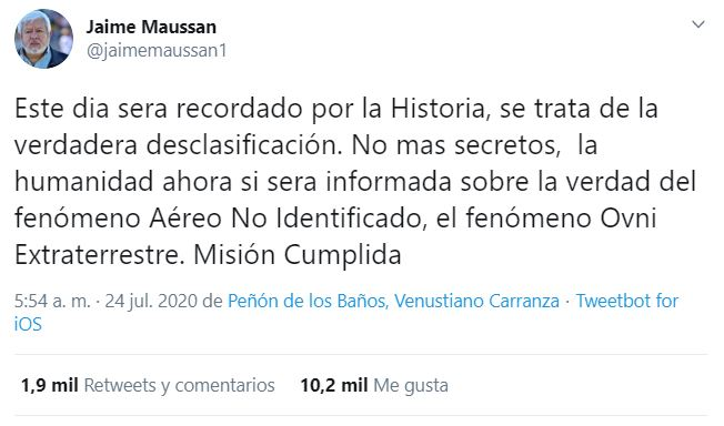 Jaime Maussan, OVNI, Pentágono