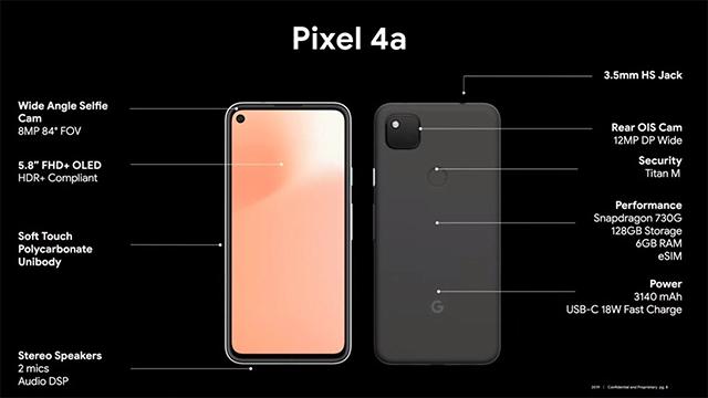 PIxel 4a especificaciones