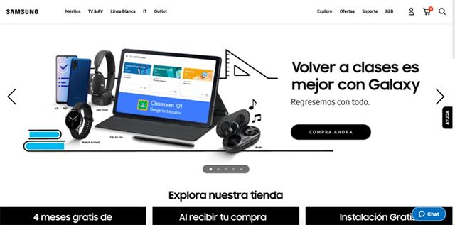 Sitio web oficial de Samsung México