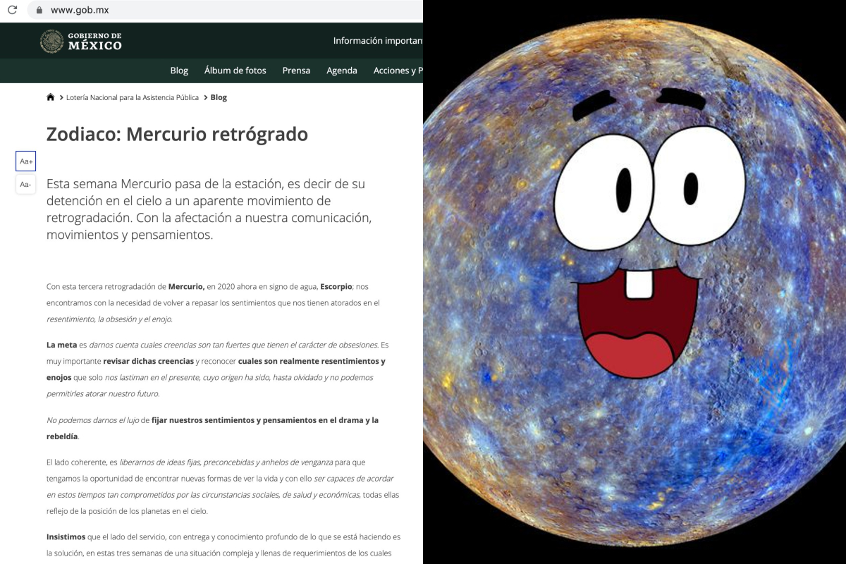 El Gobierno de México te da información astrológica de Mercurio retrógrado