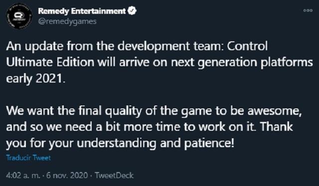 Control Ultimate Edition Retrasado hasta 2021