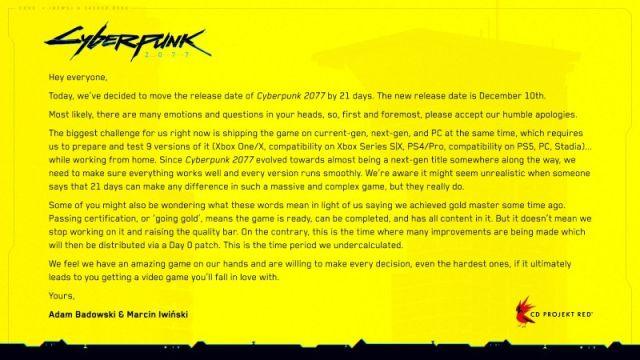 CD Projekt anuncia fecha de lanzamiento de Cyberpunk 2077