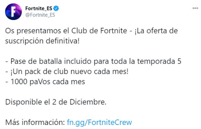Club Fortnite estará disponible en México