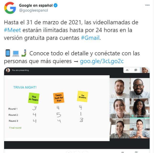 Google Meet con videollamadas ilimitadas