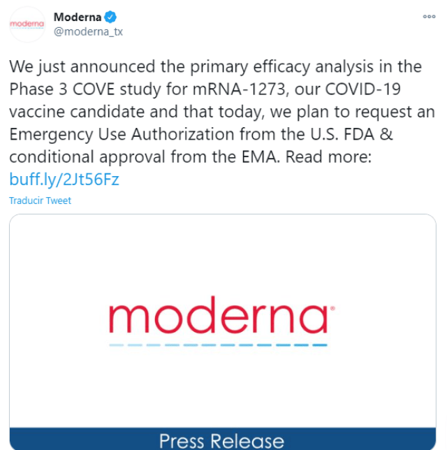 Moderna finalizó la fase 3 de sus pruebas